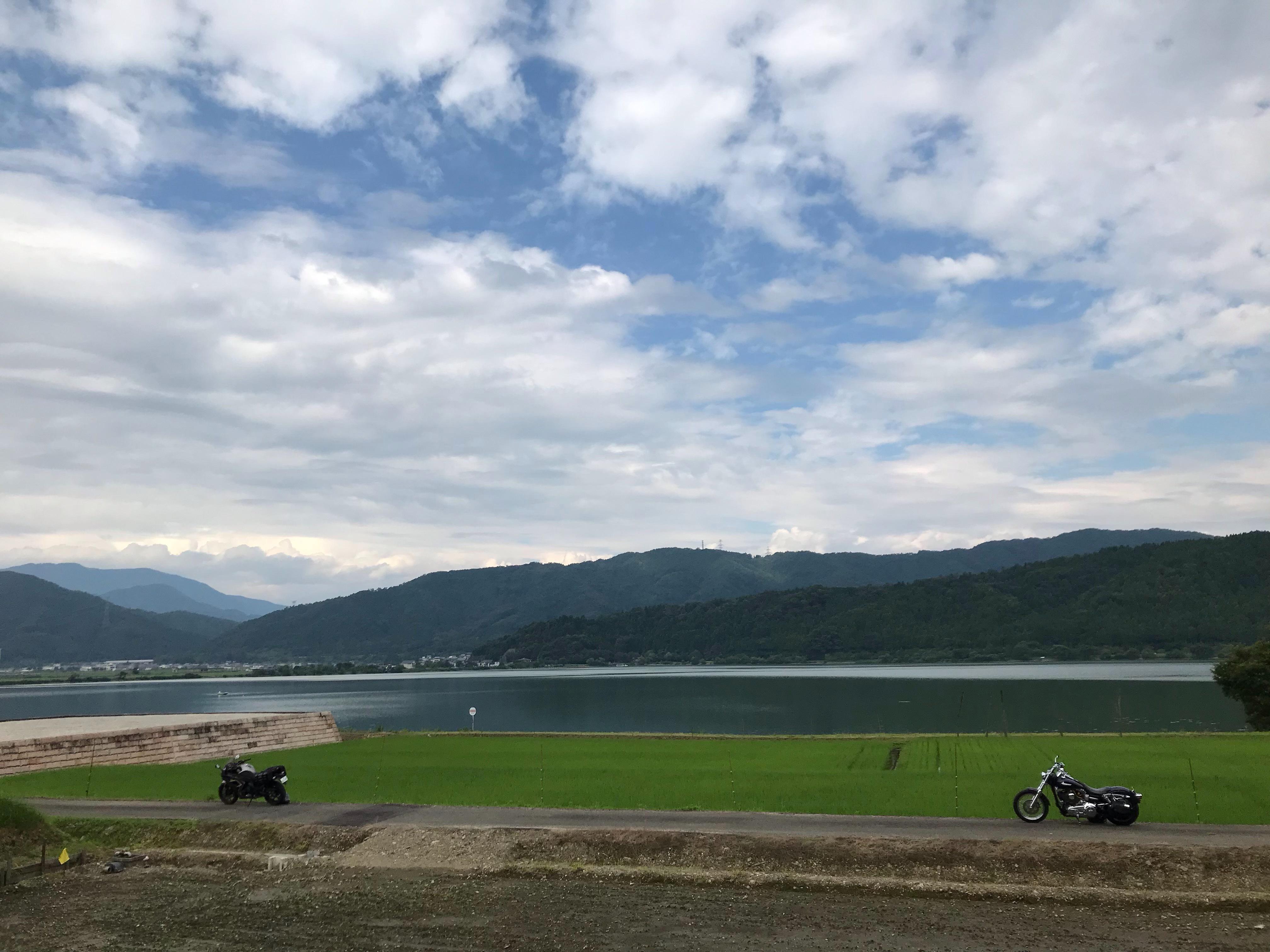 ぴーきちハーレーブログ ビワイチ ヨゴイチツーリング 余呉湖の全景