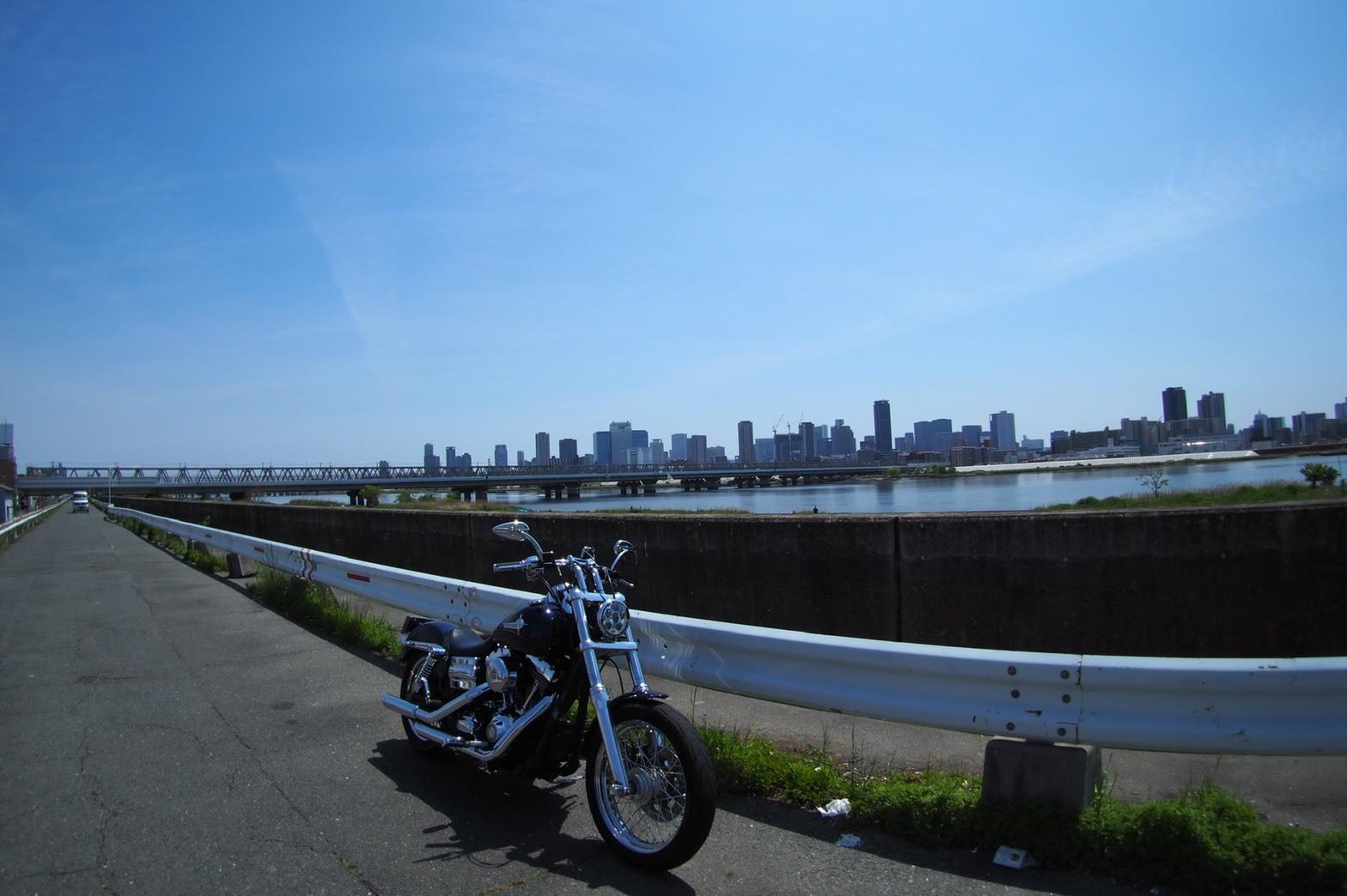 ぴーきち&ダイナ 舞洲夢洲ツーリング 淀川 川沿い 大阪市内 魚眼