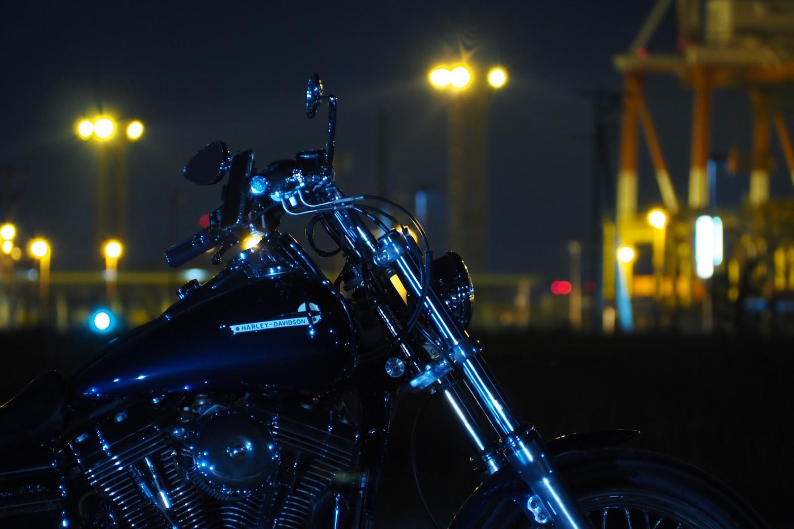 ぴーきち&ダイナ ハーレーブログ 大阪ツーリング ナイトバージョン 夢洲の空き地 大阪万博開催予定地 夜景 その3