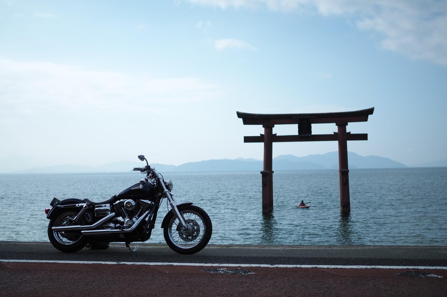 ぴーきちハーレーブログ 福井金沢ツーリング 白髭神社の鳥居