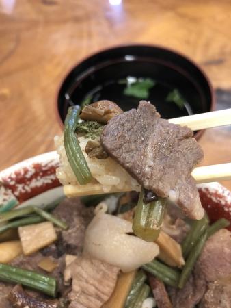 ぴーきちグルメブログ 石川県 レストラン手取川 猪丼 イノシシ
