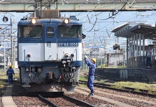 2020年8月22日撮影 南松本にて西線貨物8084レ 無線機の返却