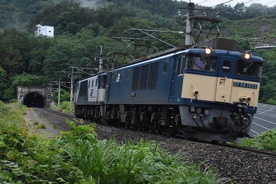 2020年7月18日撮影 篠ノ井線8467レ 西条トンネル出口 EF64-1022号機