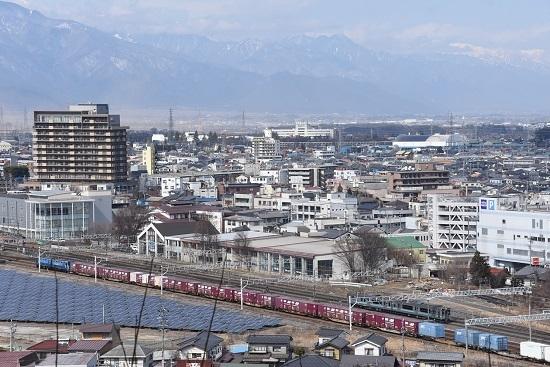 2020年2月29日撮影 塩尻大門俯瞰 その3 東線貨物2083レ 辰野線158M E127系