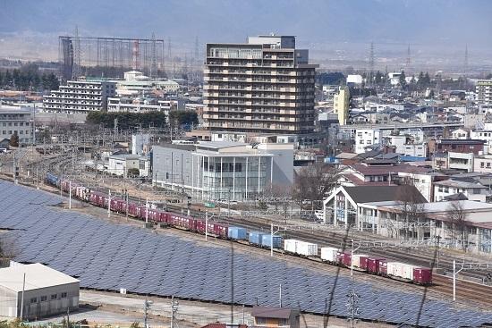 2020年2月29日撮影 塩尻大門俯瞰 その4 東線貨物2083レ発車