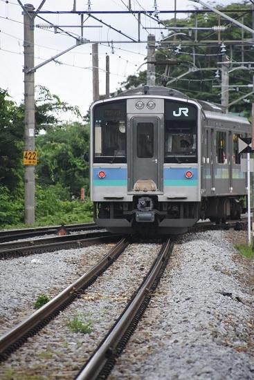 2020年7月18日撮影 姨捨駅にて 2238M E127系 本線へ入る所を後撃ち