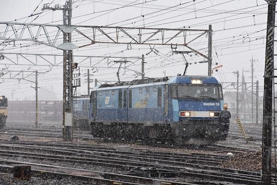 2020年3月14日撮影 東線貨物2080レ EH200-13号機 機回し 雪が降る中