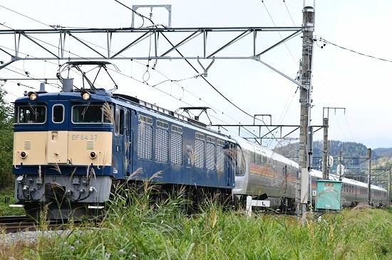 2020年10月25日撮影 坂北駅を発車するEF64-37号機が牽くカシオペア