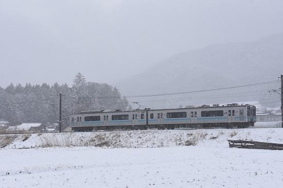 2020年3月14日撮影  辰野線 163M E127系 雪が降る中 -3