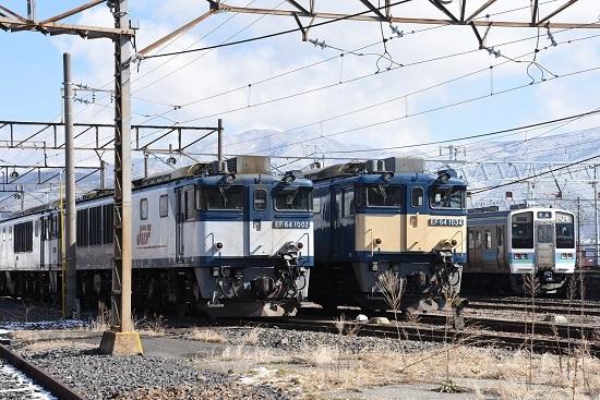 2020年3月15日撮影 南松本にてEF64-1002と1034号機の並び