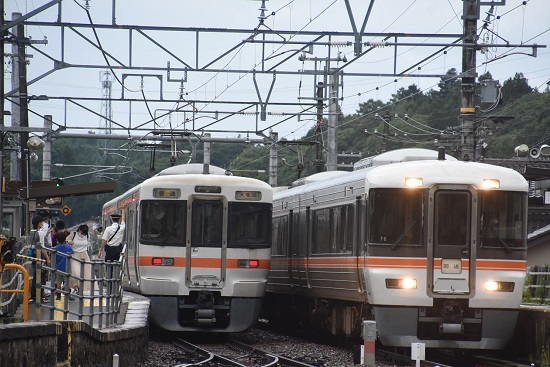 2020年7月26日撮影 飯田線沢渡駅にて313系と373系の並び