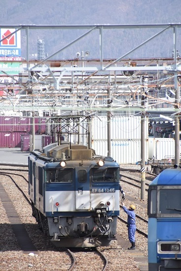 2020年3月21日撮影 南松本にて 西線貨物8084レ 機回し 無線機渡し