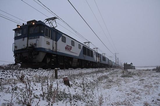 2020年12月5日撮影 西線貨物6088レ 初雪の中を行くEF64重連
