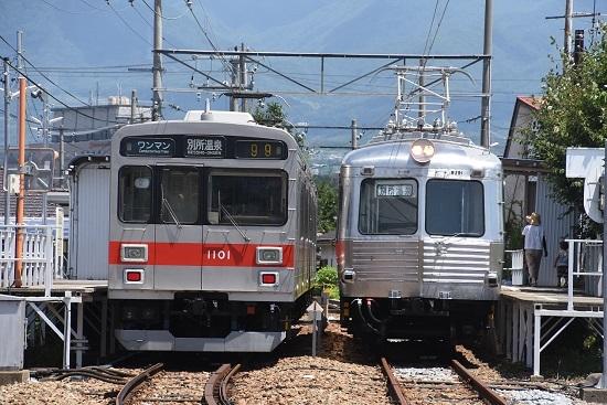 2020年8月1日撮影 上田電鉄城下駅にて 1000系と5200系