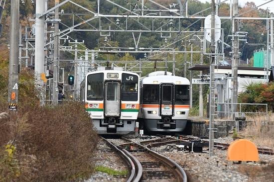 2020年11月15日撮影 飯田線は時又駅にて急行「10周年飯田線秘境駅号」と213系の並び