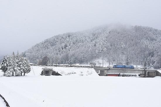 2020年3月29日撮影 東線貨物2083レ 雪が降る中EH200-4号機