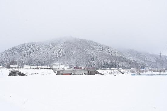 2020年3月29日撮影 東線貨物2083レ 雪が降る中EH200-4号機 コンテナ編成