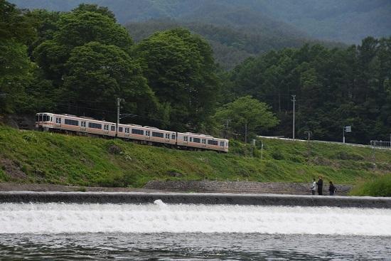 2020年5月31日撮影 飯田線は天竜川にて釣り人と213M 313系1700番台