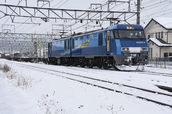 2020年3月29日撮影 東線貨物2083レ EH200-4号機の雪化粧した顔