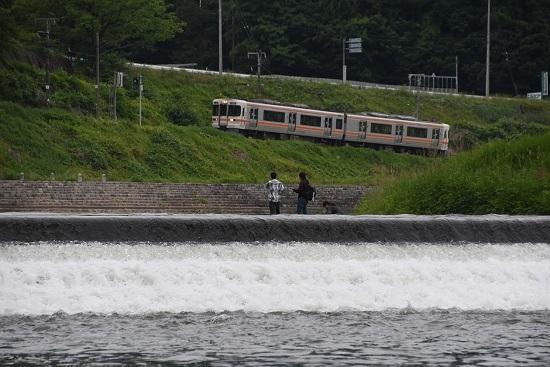 2020年5月31日撮影 飯田線は天竜川にて釣り人と回送 313系