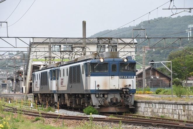 2020年8月8日撮影 篠ノ井線8467レ EF64更新色重連 聖高原駅