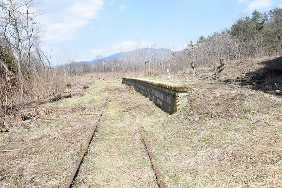 2020年4月4日撮影 旧東塩尻駅ホームから辰野線側を見る