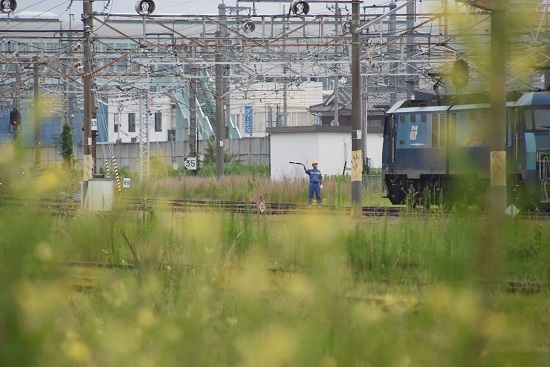 2020年8月8日撮影 坂城貨物85レ EH200-18号機 誘導員さんが誘導