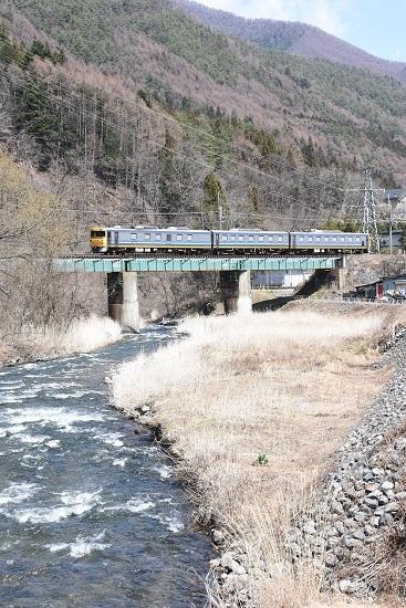 2020年4月5日撮影 西線検測 試9831D キヤ95 DR2編成 木曽平沢鉄橋