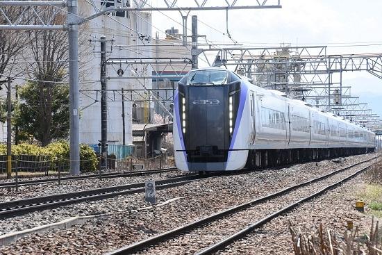 2020年4月5日撮影 南松本にて E353系 13M あずさ13号