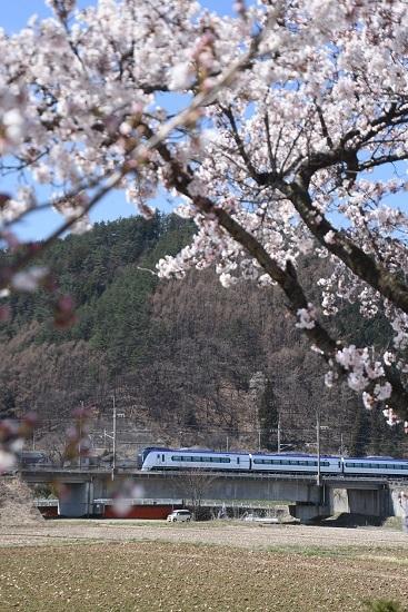 2020年4月11日撮影 塩中の桜と18M E353系「あずさ18号」