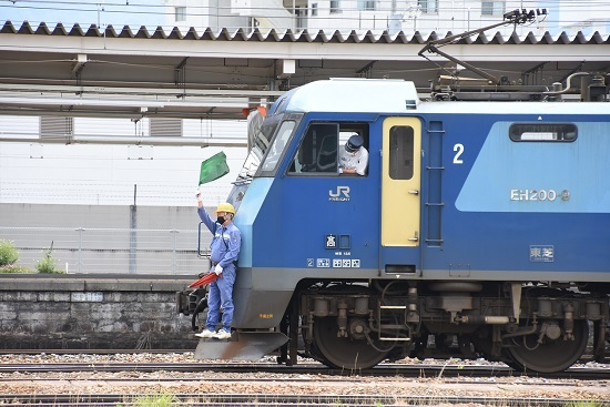 2020年6月20日撮影 坂城貨物5774レ EH200-9号機 緑旗でGO