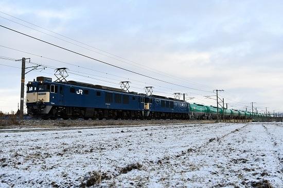 2020年12月19日撮影 西線貨物6088レ 雪景色の中を行くEF64原色重連