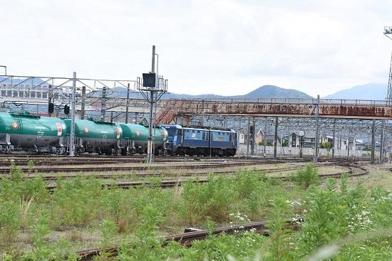 2020年6月20日撮影 篠ノ井駅を発車して行く坂城貨物5774レ EH200-9号機