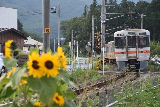 2020年8月10日撮影 飯田線は羽場駅を発車して来た313系1700番台の回送を後撃ち