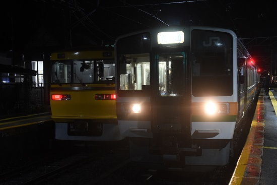 2020年10月8日撮影 北殿駅にてキヤ95と222M 213系の並び