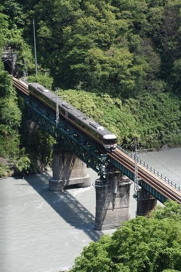 2020年6月21日撮影 天竜峡大橋「そらさんぽ天竜峡」より 22M 373系「WV伊那路2号」