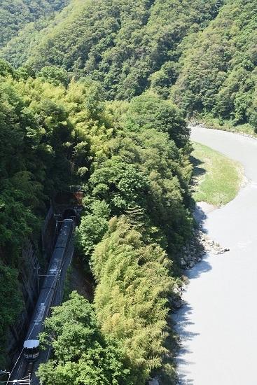 2020年6月21日撮影 天竜峡大橋「そらさんぽ天竜峡」より 22M 373系「WV伊那路2号」後撃ち