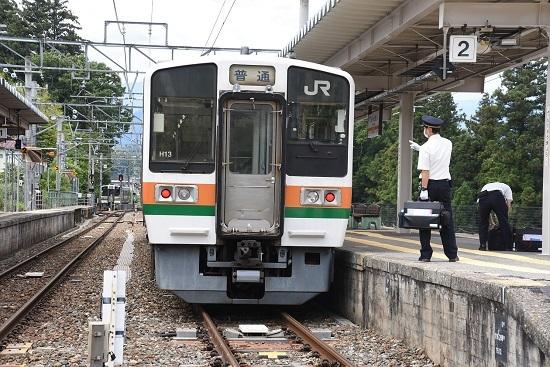 2020年6月21日 飯田線 天竜峡駅 213系 運転士の指差し確認