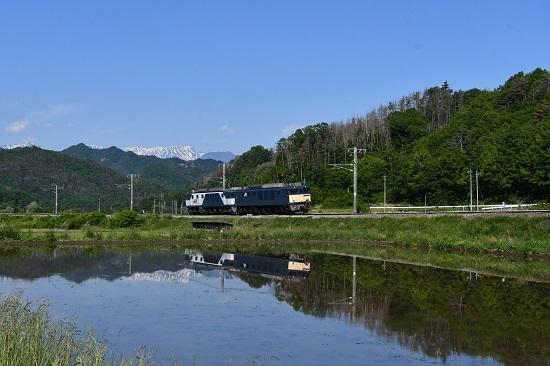 2020年5月月30日撮影 篠ノ井線 8467レ 坂北カーブ EF64-1043号機 水鏡