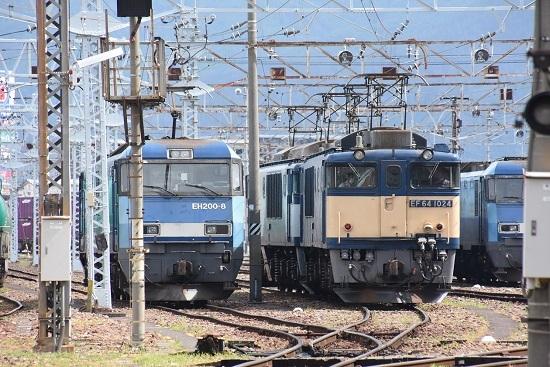 2020年8月13日撮影 南松本にてEF64-1024号機とEH200-8号機の並びを正面から