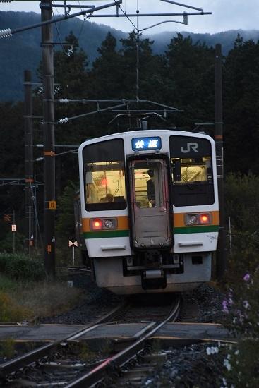 2020年10月18日撮影 飯田線は羽場駅を発車する2201M 213系「快速」青幕を後撃ち