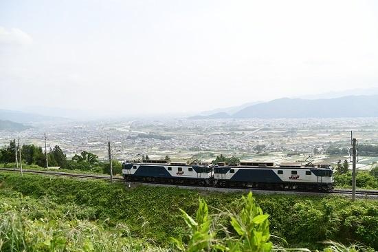 2020年6月6日撮影 篠ノ井線8467レ 姨捨俯瞰にてEF64重連と善光寺平