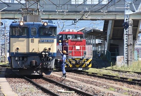 2020年8月15日撮影 南松本にて 西線貨物8084レ 機回し終わり 無線機返却