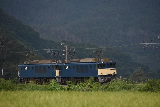 2020年8月22日撮影 篠ノ井線8467レ 坂北カーブを行くEF64原色重連-1