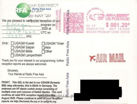 2020年5月8日(UTC=協定世界時間) 韓国語(北朝鮮向け)放送受信 Radio Free AsiaのQSLカード(受信確認証)