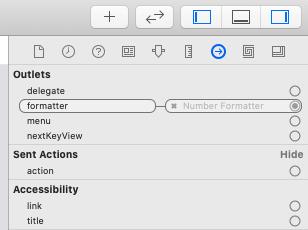 Xcodeのoutlet設定画面