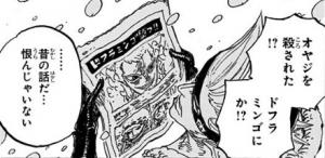 ドフラミンゴが倒されたと報じる新聞を読むドレーク