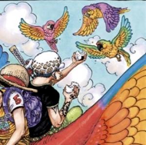 3羽のオウムにおにぎりを分け与えるロー -ONE PIECE最新考察研究室.985