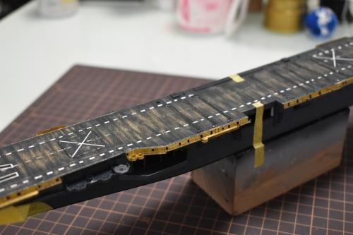 米航空母艦 バンカーヒル(1945年2~3月頃)製作中 キャットウォーク取り付けDSC_0310◆模型製作工房 聖蹟