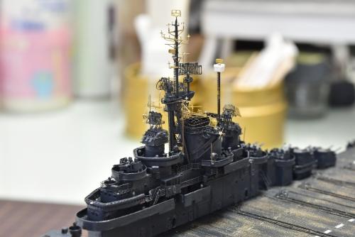 米航空母艦「バンカーヒル」(1945年2~3月頃)マスト設置DSC_0974◆模型製作工房 聖蹟